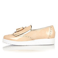 Light pink leather platform loafers
