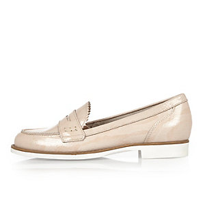 Light pink patent loafers