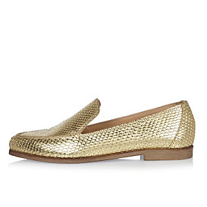 Gold embossed leather loafers