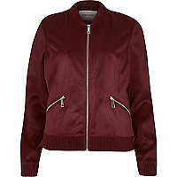 Burgundy faux suede bomber jacket