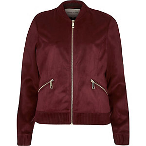 Dark red faux suede bomber jacket