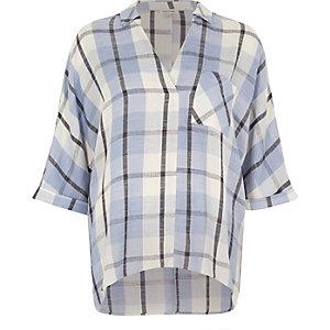 Blue check blouse
