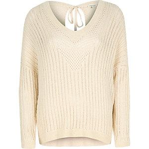 Cream crochet sweater