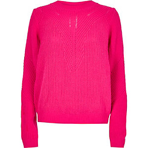 Bright pink zip back sweater