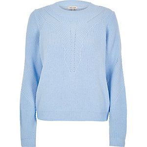 Light blue zip back sweater