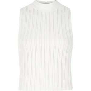 Cream '90s ribbed turtle neck crop top