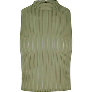 Khaki '90s ribbed turtle neck crop top