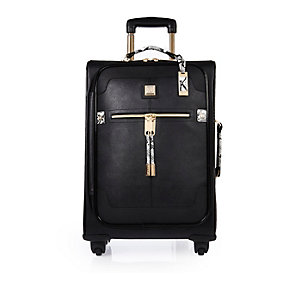 Black leather look wheelie suitcase