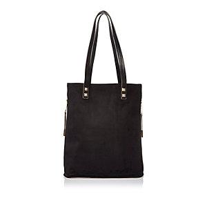 Black faux suede shopper handbag