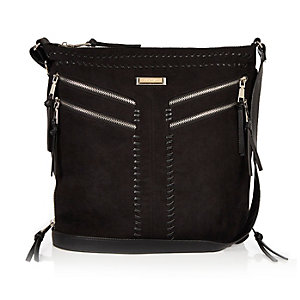 Black faux suede messenger handbag