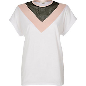 White mesh insert t-shirt