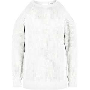 White knitted open back sweater