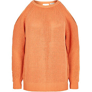 Orange open back sweater