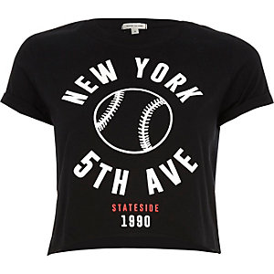 Black New York print cropped t-shirt