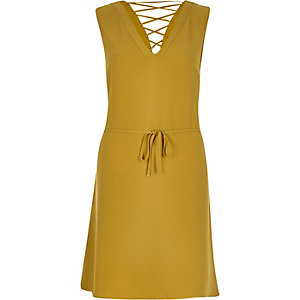 Yellow lace-up swing dress
