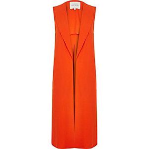 Orange sleeveless duster jacket