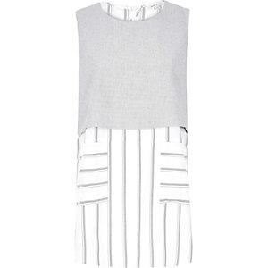Grey stripe double layer stripe top