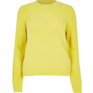 Bright yellow knitted zip back sweater