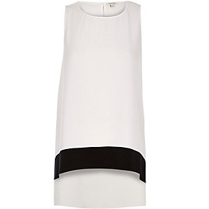 White color block longline top