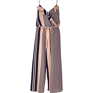 Pink striped crepe jumpsuit