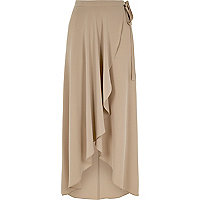 Beige wrap front midi skirt