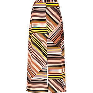 Orange stripe split maxi skirt