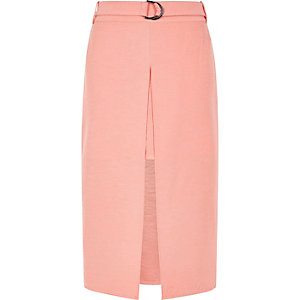 Pink split overlay midi skirt