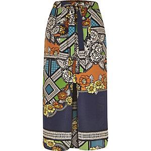 Green floral print utility midi skirt