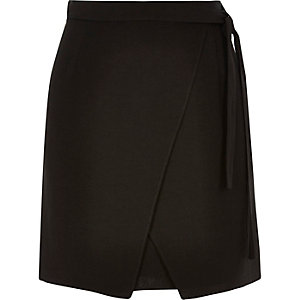 Black wrap mini skirt
