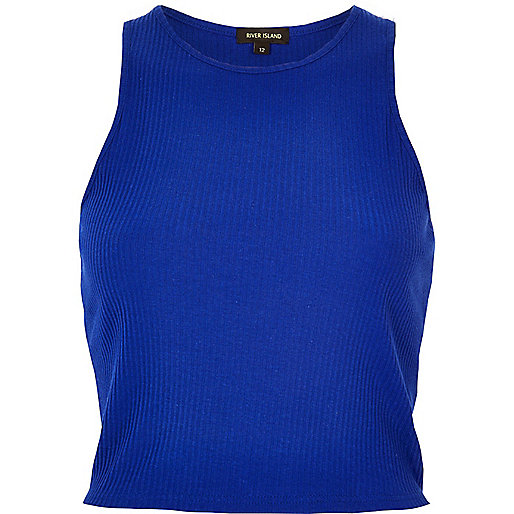 Blue '90s ribbed crop top