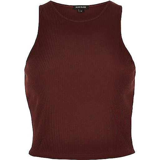 Dark red '90s ribbed crop top