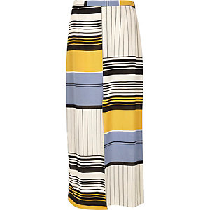 Blue stripe split front maxi skirt