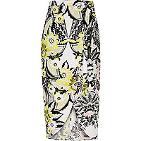 Yellow print midi wrap skirt