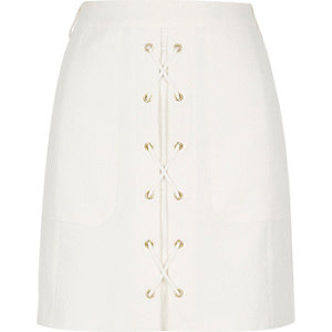 White textured lace-up mini skirt