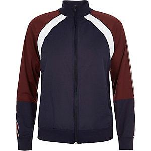 Navy panel zip-up sports jacket