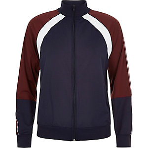 Navy panel zip-up sports jacket