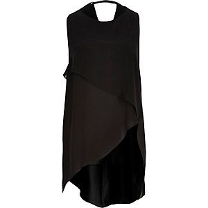 Black sleeveless crepe tank