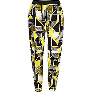 Yellow geometric print joggers