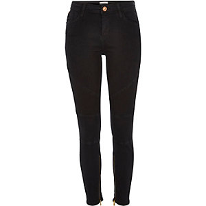 Black washed Amelie super skinny biker jeans