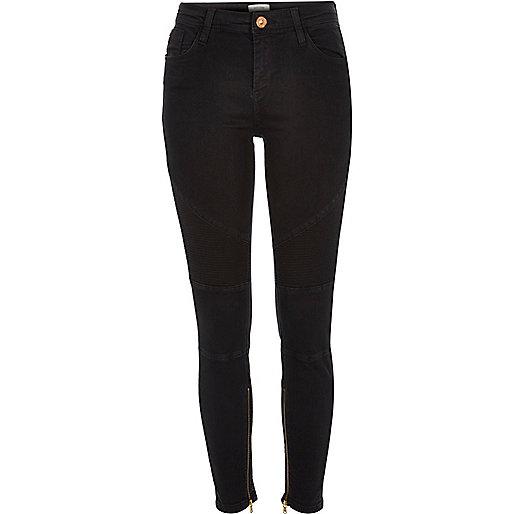 Black washed Amelie super skinny biker jeans