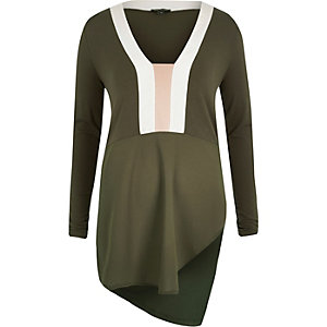 Khaki block panelled asymmetric top