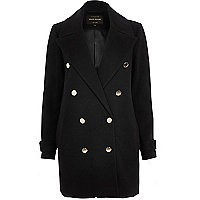 Dark navy military peacoat