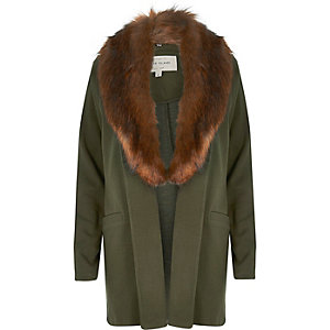Khaki fur collar jacket