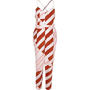 Red stripe tapered jumpsuit