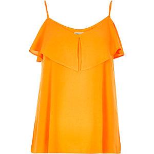 Orange tired cold shoulder cami