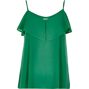 Green tiered cold shoulder cami