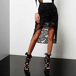 Black embellished high-low hem skirt