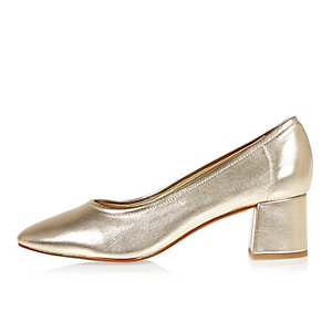 Gold block heel glove shoes