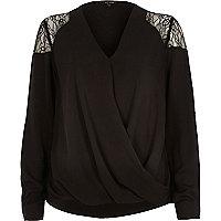 Black lace shoulder warp top