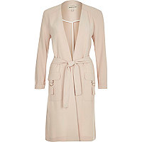 Light pink belted duster coat